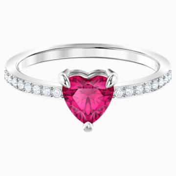 Anillo One Heart, rojo, Baño de Rodio - Swarovski, 5474943