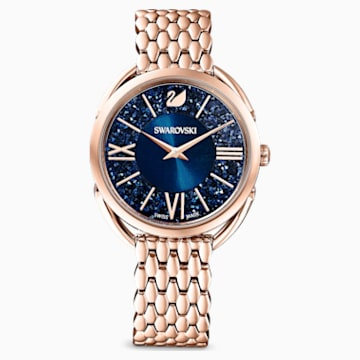 Zegarek Crystalline Glam, bransoleta z metalu, niebieski, powłoka PVD w odcieniu różowego złota - Swarovski, 5475784