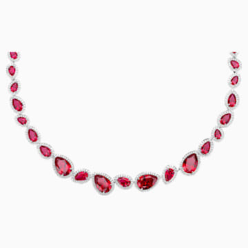 Lola Necklace, Swarovski Created Rubies, 18K White Gold - Swarovski, 5476755
