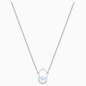 Sparkling Dance 项链, 蓝色, 镀铑 - Swarovski, 5479118