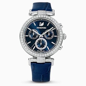 Reloj Era Journey, Correa de piel, azul, acero inoxidable - Swarovski, 5479239