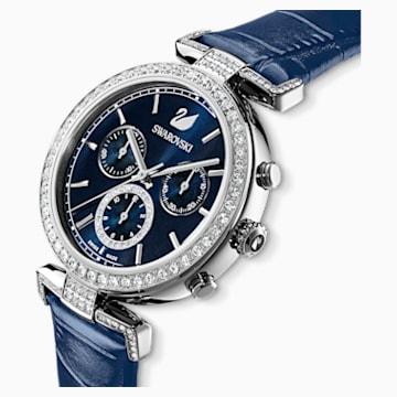Era Journey 手錶, 真皮錶帶, 藍色, 不銹鋼 - Swarovski, 5479239