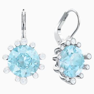 Olive Pierced Earrings, Aqua, Rhodium plated - Swarovski, 5479927