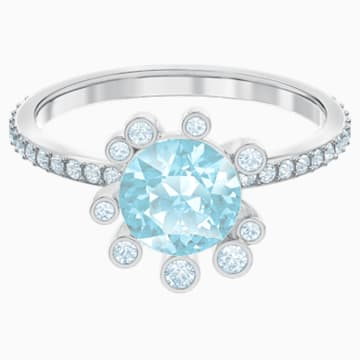 Olive Ring, Aqua, Rhodium plated - Swarovski, 5479929