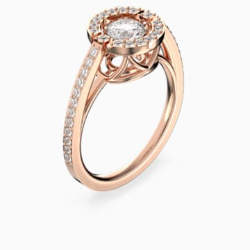 Anello Swarovski Sparkling Dance Round, bianco, Placcato oro rosa - Swarovski, 5479934