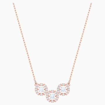 Collar Swarovski Sparkling Dance Trilogy, blanco, Baño en tono Oro Rosa - Swarovski, 5480482