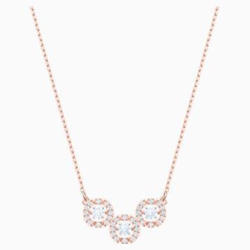 Swarovski Sparkling Dance Trilogy 项链, 白色, 镀玫瑰金色调 - Swarovski, 5480482