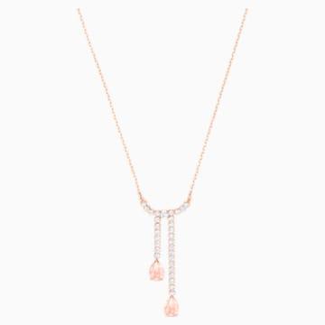 Vintage Y形项链, 白色, 镀玫瑰金色调 - Swarovski, 5480483