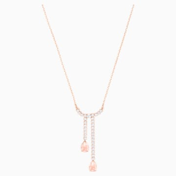 Vintage Y Necklace, White, Rose-gold tone plated - Swarovski, 5480483