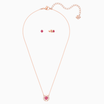 Conjunto Swarovski Sparkling Dance Round, rojo, Baño en tono Oro Rosa - Swarovski, 5480494
