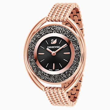 Crystalline Oval 手錶, 金屬手鏈, 黑色, 玫瑰金色調PVD - Swarovski, 5480507