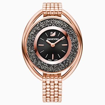 Crystalline Oval Saat, Metal bileklik, Siyah, Pembe altın rengi PVD - Swarovski, 5480507