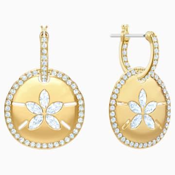 Ocean Sand Coin Pierced Earrings, White, Gold-tone plated - Swarovski, 5480783