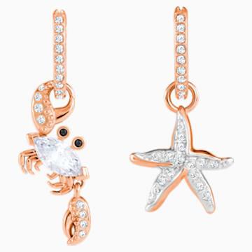 Pendientes Ocean Crab, blanco, Baño en tono Oro rosa - Swarovski, 5480784
