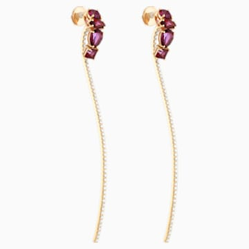 Arc-en-ciel Two-piece Earrings, Blazing Red Treated Swarovski Genuine Topaz, 18K Yellow Gold - Swarovski, 5481740