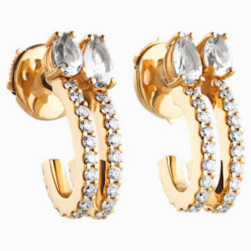 Arc-en-ciel Double Hoop Earrings, Swarovski Genuine Topaz & Swarovski Created Diamonds, 18K Yellow Gold - Swarovski, 5481743