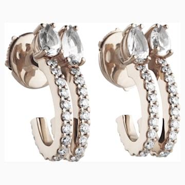 Arc-en-ciel Double Hoop Earrings, Swarovski Genuine Topaz & Swarovski Created Diamonds, 18K Rose Gold - Swarovski, 5481764