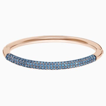 Stone Bangle, Blue, Rose-gold tone plated - Swarovski, 5482306