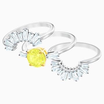 Napsugár gyűrű szett, fehér, ródium bevonatú - Swarovski, 5482498