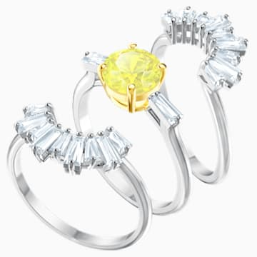 Sunshine Ring Set, White, Rhodium plated - Swarovski, 5482508