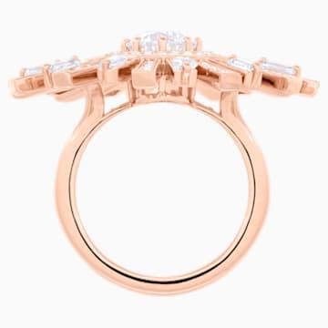 Prsten s velkým kamenem Sunshine, Bílý, Pozlacený růžovým zlatem - Swarovski, 5482511