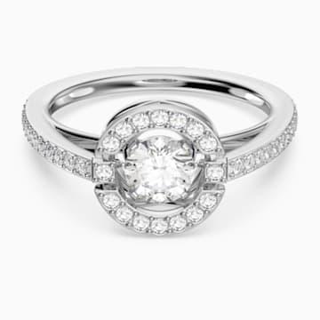 Swarovski Sparkling Dance Round 戒指, 白色, 鍍白金色 - Swarovski, 5482513