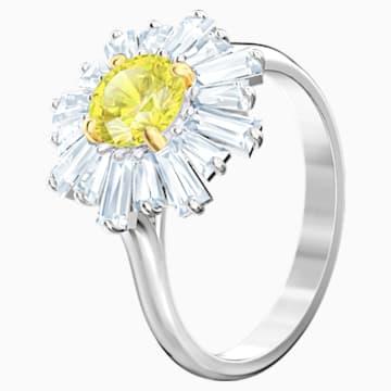 Sunshine 戒指, 黃色, 鍍白金色 - Swarovski, 5482713