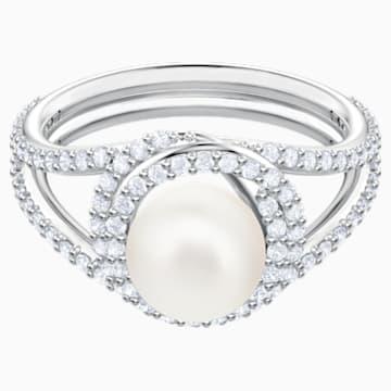 Originally Cocktail Ring, White, Rhodium plated - Swarovski, 5482715