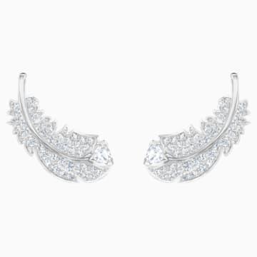 Boucles d'oreilles clous Nice, blanc, Métal rhodié - Swarovski, 5482912