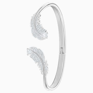 Bracelet-jonc Nice, blanc, Métal rhodié - Swarovski, 5482915