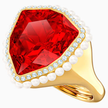 Anillo de cóctel Lucky Goddess, rojo, Baño en tono Oro - Swarovski, 5482929