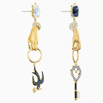 Tarot Magic Pierced Earrings, Multi-coloured, Gold-tone plated - Swarovski, 5482975