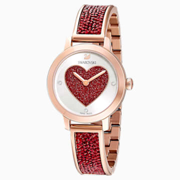 Cosmic Rock Watch, Metal bracelet, Red, Rose-gold tone PVD - Swarovski, 5483519