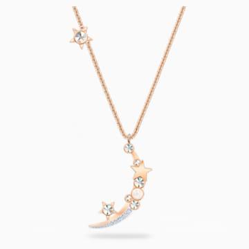 Starry Night Moon 项链, 白色, 镀玫瑰金色调 - Swarovski, 5483536
