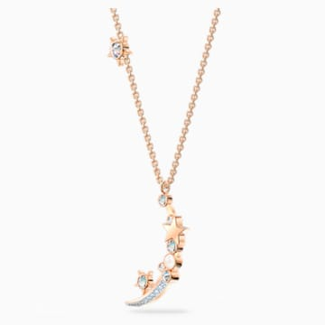 Starry Night Moon Necklace, White, Rose-gold tone plated - Swarovski, 5483536