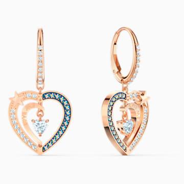 Starry Night Heart 穿孔耳环, 蓝色, 镀玫瑰金色调 - Swarovski, 5484016
