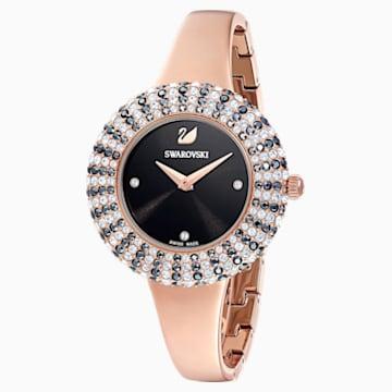 Reloj Crystal Rose, Brazalete de metal, negro, PVD en tono Oro Rosa - Swarovski, 5484050