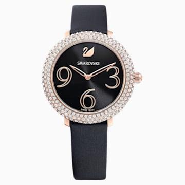 Crystal Frost 手錶, 真皮錶帶, 黑色, 玫瑰金色調PVD - Swarovski, 5484058