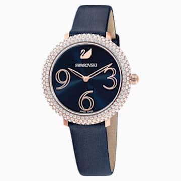 Hodinky Crystal Frost s koženým páskem, modré, PVD v odstínu růžového zlata - Swarovski, 5484061