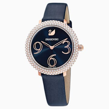 Reloj Crystal Frost, Correa de piel, azul, PVD en tono Oro Rosa - Swarovski, 5484061