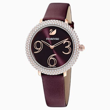 Montre Crystal Frost, Bracelet en cuir, rouge foncé, PVD doré rose - Swarovski, 5484064