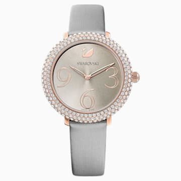 Crystal Frost-horloge, Leren horlogebandje, Grijs, Roségoudkleurig PVD - Swarovski, 5484067