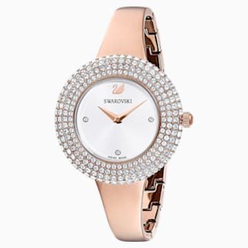 Crystal Rose Uhr, Metallarmband, weiss, Rosé vergoldetes PVD-Finish - Swarovski, 5484073