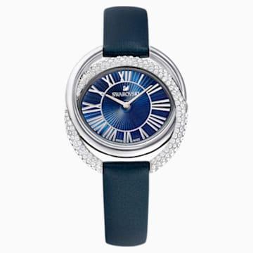 Duo-horloge, Leren horlogebandje, Blauw, Roestvrij staal - Swarovski, 5484376
