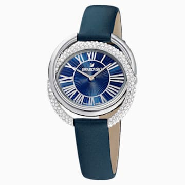 Orologio Duo, Cinturino in pelle, azzurro, acciaio inossidabile - Swarovski, 5484376