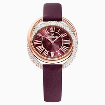 Duo 腕表, 真皮表带, 深红色, 玫瑰金色调 PVD - Swarovski, 5484379