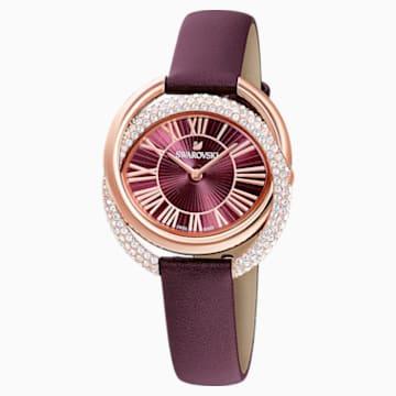 Duo Часы, Кожаный ремешок, Тёмно-красный Кристалл, PVD-покрытие оттенка розового золота - Swarovski, 5484379