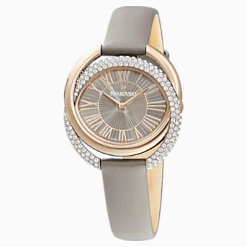Reloj Duo, Correa de piel, gris, PVD en tono Oro Champán - Swarovski, 5484382