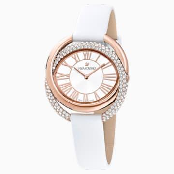 Zegarek Duo, pasek ze skóry, biały, powłoka PVD w odcieniu różowego złota - Swarovski, 5484385