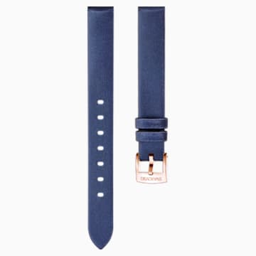 14mm 錶帶, 絲綢, 藍色, 鍍玫瑰金色調 - Swarovski, 5484608